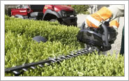 A hedge trimmer in action