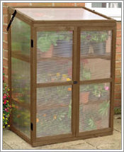 A wood frames mini greenhouse